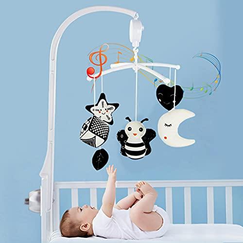 Giostrina musicale per culla   Supporto per bracciolo per culla con luci e musica rilassante, funzione di temporizzazione, sonaglio da portare con sé, giochi per bambini dai