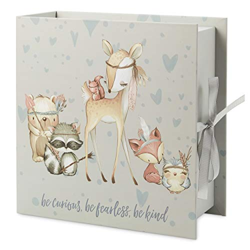 Baby Milestone Keepsake Storage Box: Track Treasured Memories - 4 Drawers - Be Curious, Be Fearless, Be Kind