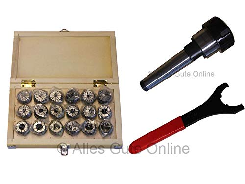 Spannzangenfutter MK3 M12 DIN228A ER32 + ER32 470E Spannzangen-Set HK (18 St.) + Schlüssel UM