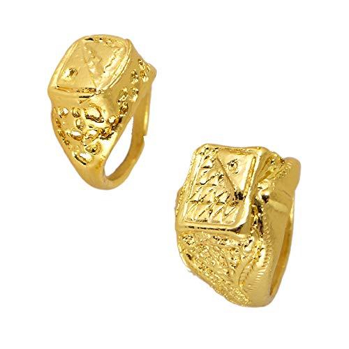 German Trendseller® - 3 x Goldener Rapper Ring - Big Bling Bling ┃ Extra Fett ┃ Rapper ┃ Gangster ┃ Metall - Gold ┃ 3 Stück