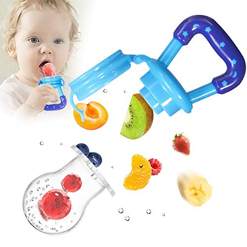 varibasu Fresh Food Baby Feeder Fruit Pacifier Silicone Pouch Teething Pacifier Fruit Infant Teething Toy Solid Nipple for Toddlers Fresh Fruit and Food Dispenser 3 Sizes Blue
