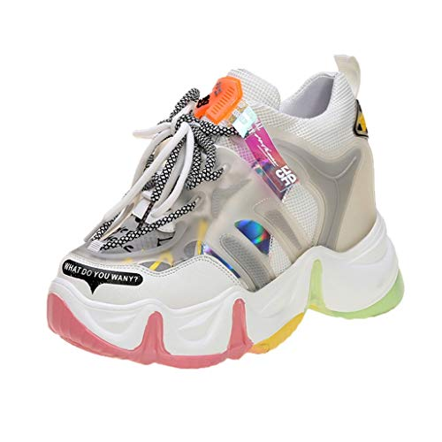 Zapatos Gruesos para Mujer, tacón de cuña, 9cm, Zapatillas de Deporte de Aumento de Altura, Moda, Plataforma con Suela de arcoíris, Zapatos Informales de Primavera y Verano con Cordones
