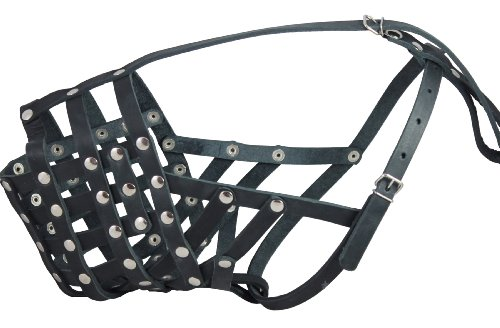 "Real Leather Cage Basket Secure Dog Muzzle - Great Dane, Saint Bernard, Mastiff(Circumference 18.5"", Snout Length 4.7"")"