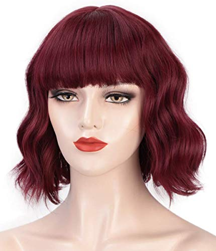 """Menoqi Wine Red Wigs for Women, 11"""" Short Curly Wavy Bob Hair Wig with Bangs, Pastel Cute Synthetic Wigs for Daily Party Cosplay Halloween WIG238B"""