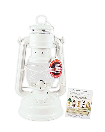 "Feuerhand Hurricane Lantern - German Made Oil Lamp - 10"" with Care Pack (White)"