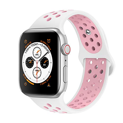 AdMaster Compatible with Apple Watch Bands 38mm 40mm,Soft Silicone Replacement Wristband Compatible with iWatch Series 1/2/3/4 - M/L White/Light Pink