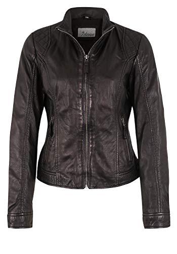 7eleven Damen Lederjacke im klassischen Design Black, M/38