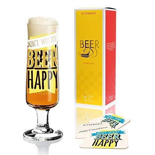 RITZENHOFF Beer Bierglas, Kristallglas, Schwarz, Blau, Gelb, Weiß, 5.5 cm