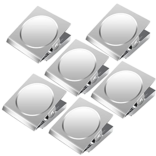 Grwanpen 6 Pack Magnetic Clips Stainless Steel Magnetic Clip, Clip Magnets Best for House Office School Use, Hanging Home Decoration, Photo Displays