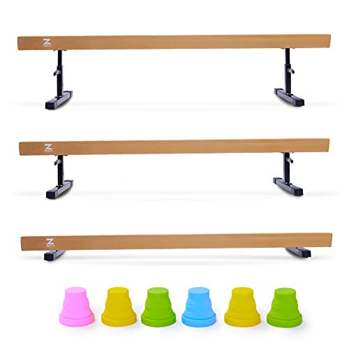 Z ZELUS Balance Beam Gymnastics for Kids, 8ft Adjustable Gymnastics Equipment for Home, Solid Suede Balance Beam with Foams and Colorful Hurdles (Khaki)