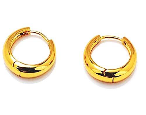 SataanReaper Presents Piercing Men Jewellery Golden Studs Combo Stylish Hoop Clip On Gold Ear Rings Earrings for Men Boys Gents Girls Boyfriend Girlfriend - Bali-M9151 (2 Pcs) #SR-3379