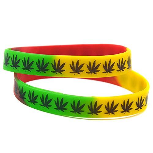 HSJ 10 Unids The Jamaica Weed Silicone Pulsera Jamaica Reggae La Banda De Pulsera Inspira Perfectamente La Aptitud, El Baloncesto, La Búsqueda De Deportes, El Ejercicio Y Las Tareas,Multi Colored