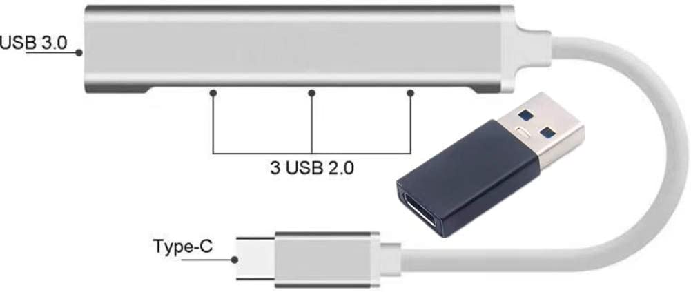 USB Hub, Portable Type C Hub with 3.0 and 2.0 Port, 4 USB Data Ports Aluminum Extension for MacBook Pro, MacBook Air, Ipad Pro, Xps, and More by EOPALL (1pcs)