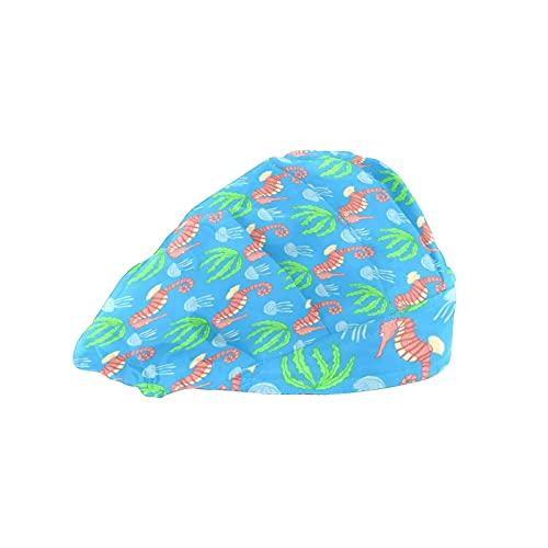 Gorra de mujer para cabello largo con banda elástica ajustable para el sudor Gorras de trabajo para hombres Bufanda de cabeza impresa 3D Sombreros bajo el agua Caballitos de mar animales