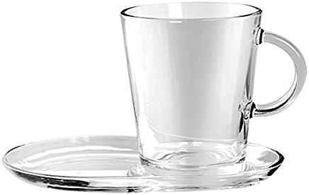 Preisvergleich für Pasabahce Set à 2Tassen mit Untertasse, 38,5cl, aus Glas, transparent