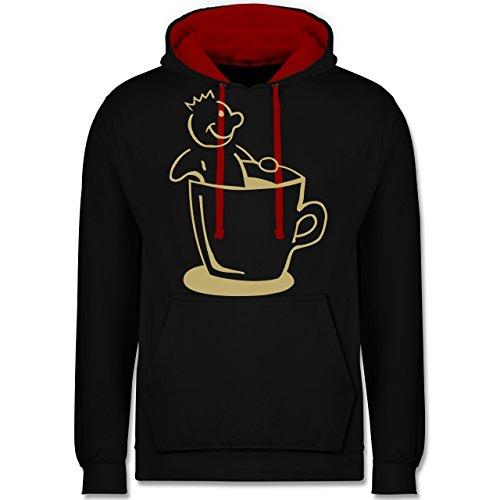 Shirtracer Küche - Kaffee König - 5XL - Schwarz/Rot - Comic - JH003 - Hoodie zweifarbig und Kapuzenpullover für Herren und Damen