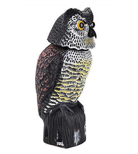 MEICHEN Realistico Uccello Scarer Testa Rotante Suono Gufo Aggiratore Decoy Protezione Repellente Disinfestazione Spaventapasseri Cortile da Giardino Mossa