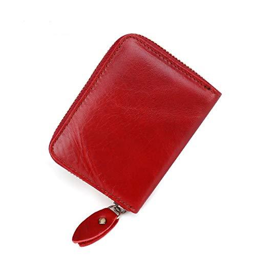 Portatarjetas Antimagnético Cuero Multi-Tarjeta de Órgano Bolsa Vintage Cuero Hombres Monedero titular de la tarjeta titular, Red (Rojo) - SLK-523