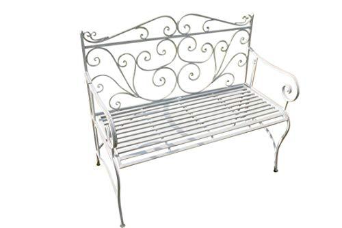 Zusammenklappbare Gartenbank aus Metall, im Versailles-Stil und in antikem Weiß INKLUSIVE AUFLAGE IM WERT VON 39,50 Euros