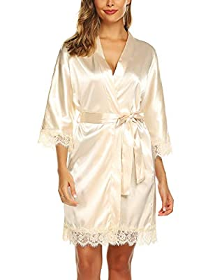 URRU Women's Bathrobes Short Kimono Robe Bridesmaids Satin Sleepwear Above Knee Length Beige XXL by