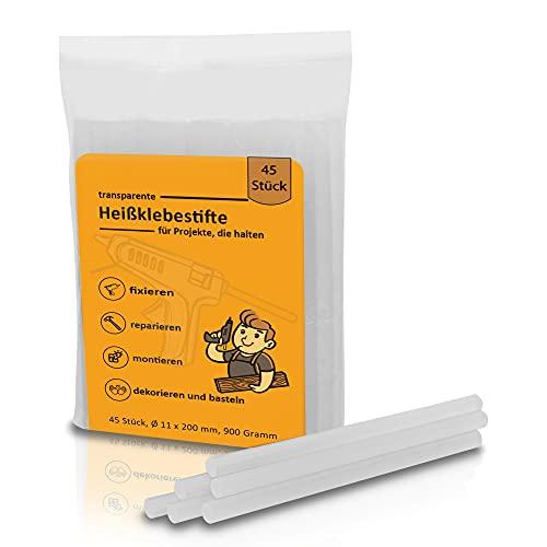 45 transparente Heißklebesticks Ø 11mm x 200mm ideal geeignet für Floristik, Basteln, Heimwerken, Reparaturen, DIY I universal Klebestifte für eine feste Verbindung!