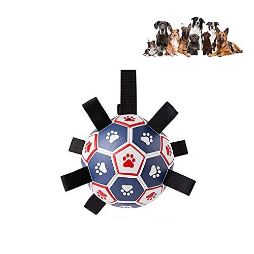 Interactive Dog Toys Soccer Ball, Dog Soccer Ball with Grab Tabs, Dog Soccer Ball Indestructible, Floating Soccer Ball, Dog Soccer Ball (Blue+Red)
