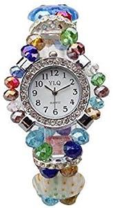 Ecloud Shop® Brazalete Pulsera Cristal Forma Redondo Reloj Colorido Moda
