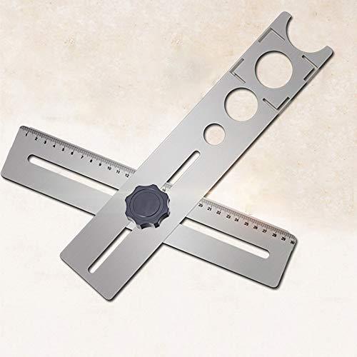 Herramienta de medición multifuncional, 1 localizador de agujeros de acero inoxidable ajustable, regla de medición multiángulo, herramienta de marcado universal de pared para corte de cerámica 商品名称