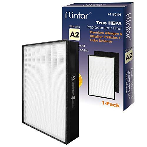 Flintar Typ A2 True HEPA Ersatzfilter mit Aktivkohle-Vorfilter, kompatibel mit Filtrete Raumluftreiniger, entfernt Allergene und Gerüche, Teilenummer 1150101, Filtergröße A2, 1er Pack (1 x 1 Stück)