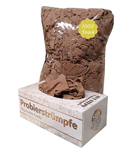 SUN STEPS Probierstrümpfe PROBIERSOCKEN Probiersöckchen Hautfarben Strümpfe + Box (1000)