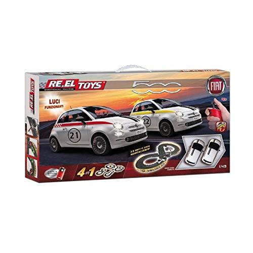 Re.el toys Fiat 500 - Pista A Batterie 2,6 M 4 in 1 Funzione Turbo con 2 Auto 6 Cm con Luci