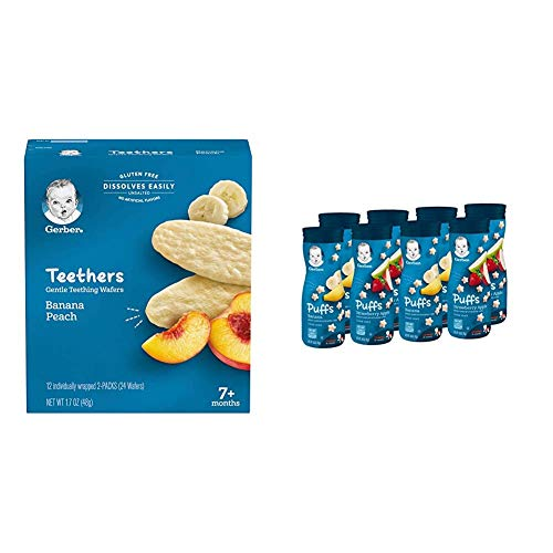 Gerber Teethers Gentle Teething Wafers - Banana Peach, 6 Count & Puffs Cereal Snack, Banana & Strawberry Apple, 8 Count