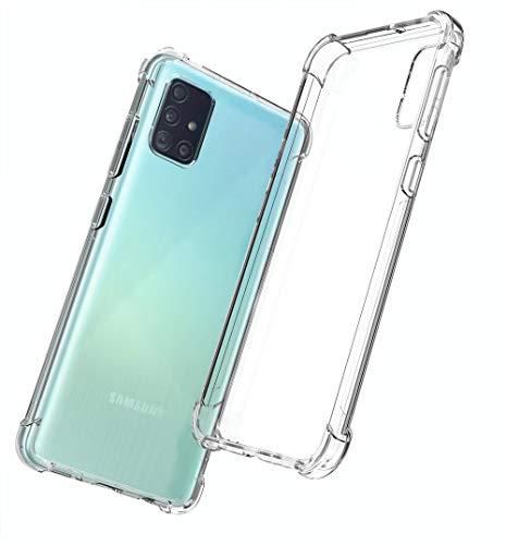 QHOHQ Funda para Samsung Galaxy A51 4G (No 5G), Cases Silicona Slim TPU Cuatro Esquinas Anti-caíd (Transparente)
