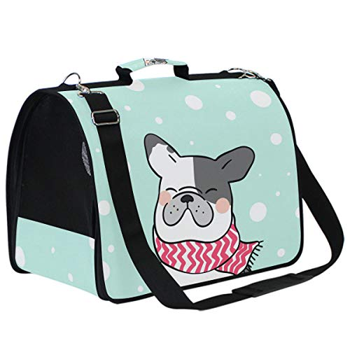 Cat Carriers Dog Carrier Pet Carrier - French Bulldog Airline Approved Soft Sided Pet Travel Ventilated Pet Carrier