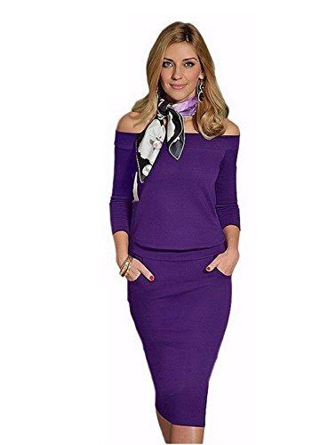 emmarcon Mini Abito Vestito Elegante Tubino da Donna Scollo Barchetta Cerimonia Festa -Violet-L