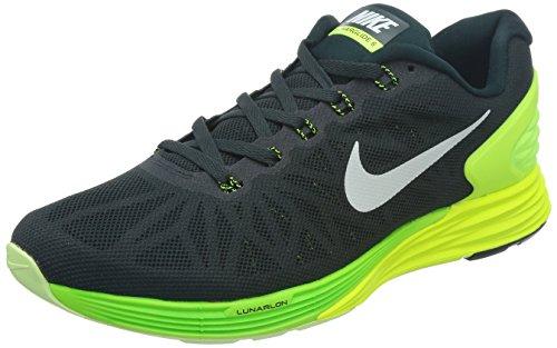 Nike Nike Herren Lunarglide 6 Laufschuhe, Schwarz (Seaweed/White-Volt-Elctrc grn 301), 42.5 EU