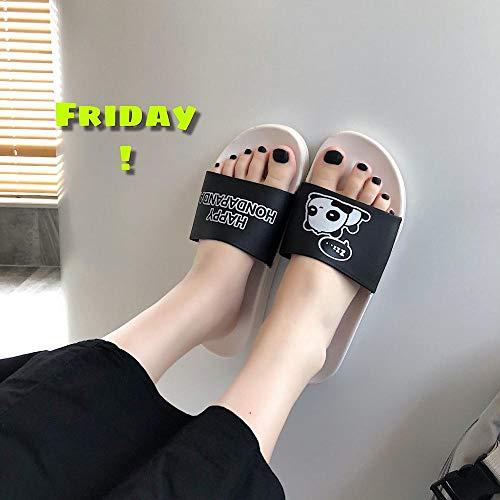 nohbi Ultraligero cómodo y Antideslizante.Zapatillas de Pareja de Dibujos Animados en Blanco y Negro,Zapatillas de Moda y Sencillas-E_44-45,Baño Sandalia Suela De Suave