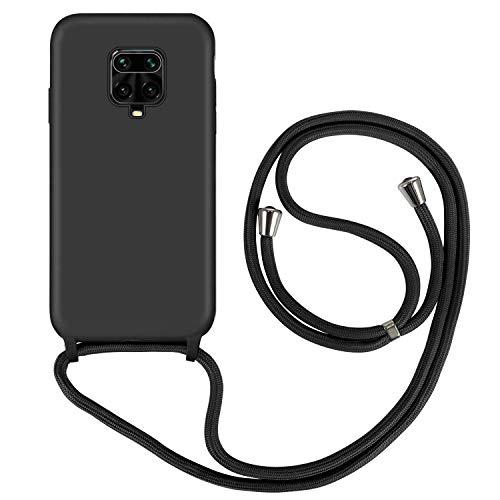 XINYUNEW Funda con Cuerda para Xiaomi Redmi Note 9S /Redmi Note 9 Pro/Poco M2 Pro,Suave Carcasa de Silicona Líquida, Case con Correa Colgante Ajustable Collar Correa de Cuello Cadena Cordón, N