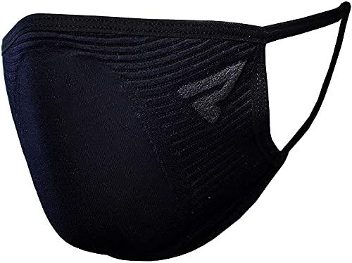 Rebelhorn Máscara facial unisex para todos los días elástica termoactiva de dos capas reutilizable actividades al aire libre, Negro, Talla única