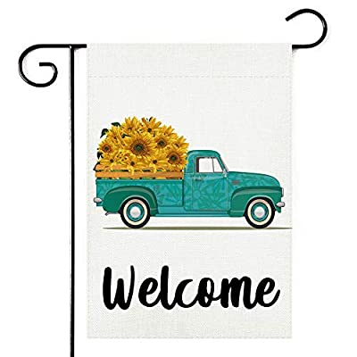 Sunflower Pickup Mother's Day Welcome Garden Flag,Vertical Double Sided 12.5 x 18 Inch, Spring Summer Fall Burlap Yard Outdoor Decor