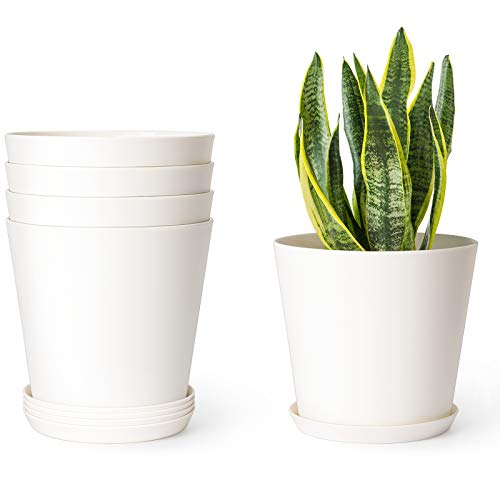 Mkono 6.5' Plastic Pots for Plants with Trays, Indoor Set of 5 Plastic Planters Modern...