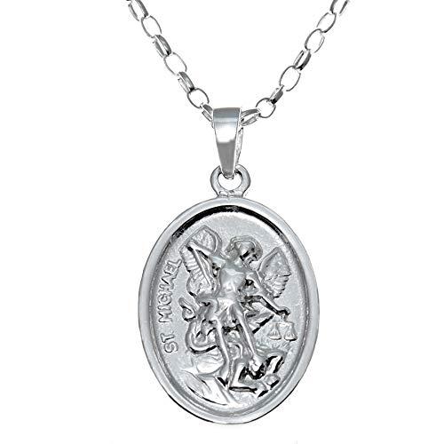Colgante reversible, plata de ley, ángel de la guarda y San Miguel