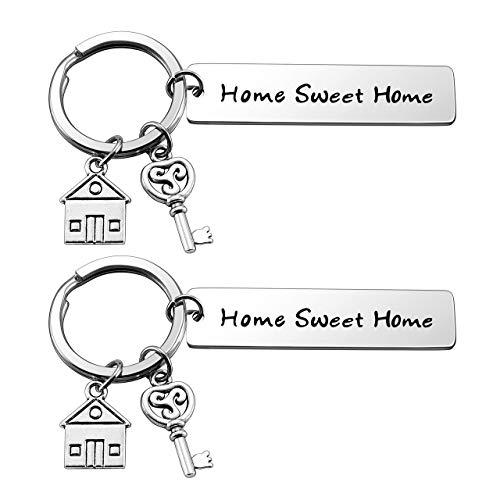 Zysta Llavero para pareja de acero inoxidable con colgante de casa de llaves grabadas 'Home Sweet Home' - Regalo para él y ella de fiesta Paquete de 2
