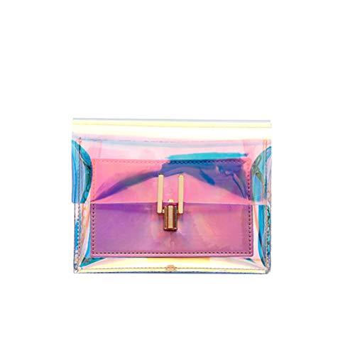 TENDYCOCO Bolso de mano transparente Bolsos coloridos de cadena Bolsos de arco iris Láser claro Bolsa de gelatina