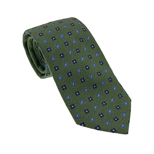 BSA Corbata 10 Neckwear 100% seda Made in Italy 8 cm Color Verde Claro Diseño Clásico Tejido Italiano