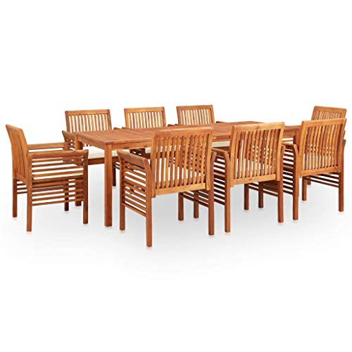 VidaXL Acacia Solid Outdoor Dinner Set 9 Pieces and Cushions for Dining Room Table and Chairs for Garden Patio Backyard