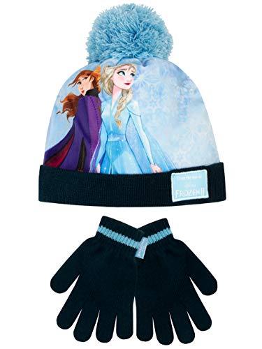 Disney Set di Capello e Guanti per Ragazze Frozen - Il Regno di Ghiaccio Blu Taglia Unica