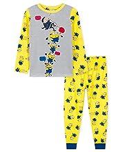 Minions Pijama para niños, pijamas para niños de 2 a 14 años, conjuntos de pijama de manga larga para niños, gris/amarillo, 5-6 Years