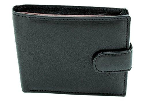 RAS Wallets - Portafoglio da uomo di alta qualità, in vera pelle, bicolore nero/marrone