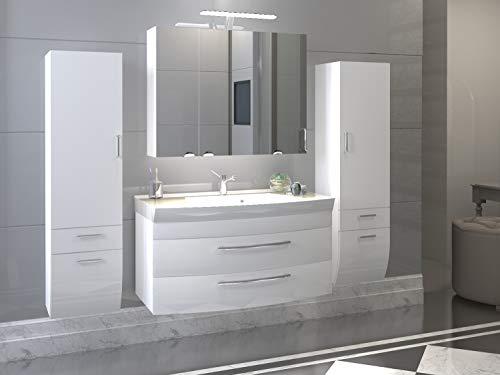 badmöbelset Badezimmer Hochgl. weiß/weiß mit großen Waschplatz inklusive Mineralgussbecken Spiegelschrank und 2 x Hochschränke
